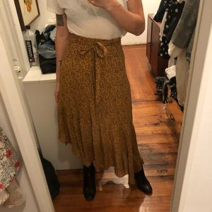 Reformation Yellow Daisy Wrap Skirt